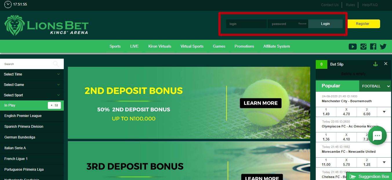 LionsBet login in Nigeria